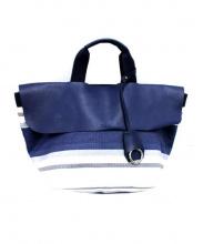 F.CLIO(エフクリオ)の古着「キャンバスレザートートバッグ」 ホワイト×ネイビー