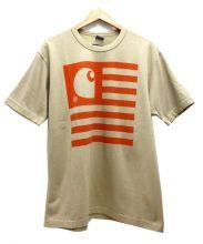 JUNYA WATANABE COMME des GARCONS MAN×carhartt(ジュンヤワタナベコムデギャルソンマン×カーハート)の古着「綿度詰天竺プリントTシャツ」|ベージュ
