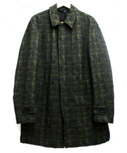 HEVO(イーヴォ)の古着「Thermoreステンカラーコート」 ブラック×グリーン