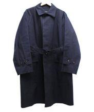 MARGARET HOWELL×MACKINTOSH(マーガレットハウエル×マッキントッシュ)の古着「ゴム引きステンカラーコート」|ネイビー