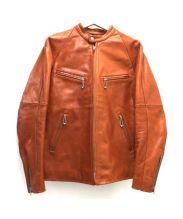 Dots wear design(ドッツウェアーデザイン)の古着「ステアハイドシングルライダースジャケット」|ブラウン