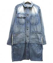 MIHARA YASUHIRO(ミハラヤスヒロ)の古着「ダスト加工コンビネーションデニムカバーオールガウン」|インディゴ