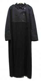 Lutz Huelle(ルッツヒュエル)の古着「異素材切替ロングトレンチコート」|ブラック