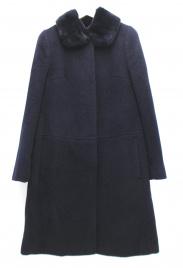 OLD ENGLAND(オールドイングランド)の古着「レッキスラビットファー装飾ノーカラーコート」