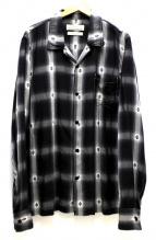 REMI RELIEF(レミレリーフ)の古着「レーヨンジャガードオープンカラーシャツ」|グレー×ホワイト