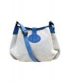 HERMES(エルメス)の古着「キャンバスレザーショルダーバッグ」 ホワイト×ブルー