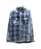 Francis T MOR.K.S(フランシストモークス)の古着「チェックデニムシャツ」|インディゴ