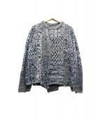bukht(ブフト)の古着「クレイジーフィッシャーマンパッチワークセーター」 ネイビー