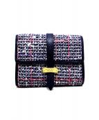 Samantha Thavasa PETIT CHOICE(サマンサタバサプチチョイス)の古着「ツイードベルト3つ折り財布」|ネイビー