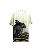 GUCCI(グッチ)の古着「リネンラビットプリントTシャツ」|グリーン