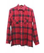 Needles(ニードルス)の古着「カットオフチェックシャツ」|レッド×ブラック