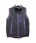 Needles Sportswear(ニードルススポーツウェア)の古着「POLARTECジップアップベスト」|ブラック×パープル