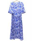 ROPE(ロペ)の古着「リバティフラワープリントワンピース」|ブルー×パープル