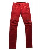 BALMAIN(バルマン)の古着「カラーバイカーパンツ」|レッド