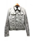 DIOR HOMME(ディオールオム)の古着「アームデストロイクラッシュデニムジャケット」|グレー