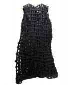 noir kei ninomiya(ノワール ケイ ニノミヤ)の古着「メッシュノースリーブワンピース」|ブラック