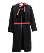 GUCCI(グッチ)の古着「ヴィスコースジャージドレス」 ブラック×レッド