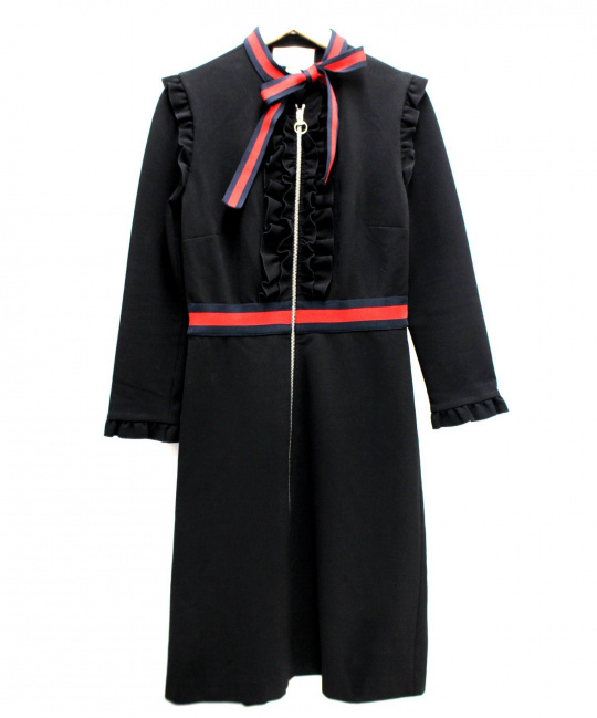 GUCCI GUCCI (グッチ) ヴィスコースジャージドレス ブラック×レッド サイズ:M 定価243,000円税抜