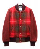 SOE(ソーイ)の古着「ハリスツイードスクールリブジャケット」|レッド