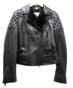 BURBERRY LONDON(バーバリーロンドン)の古着「ラムレザーライダースジャケット」 ブラック