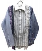 Rebuild by Needles(リビルド バイ ニードルズ)の古着「再構築ストライプシャツ」|ホワイト×ブルー