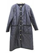 Traditional Weatherwear(トラディショナルウェザーウェア)の古着「ノーカラーキルティングコート」 ネイビー