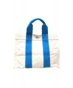 HERMES(エルメス)の古着「キャンバストートバッグ」|ホワイト×ブルー
