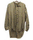 BALENCIAGA(バレンシアガ)の古着「バックロゴボウタイチェックシャツ」|イエロー