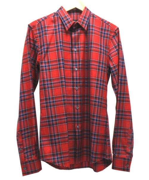 GIVENCHY(ジバンシィ)GIVENCHY (ジバンシー) チェックシャツ レッド×ネイビー サイズ:14 1/2 37の古着・服飾アイテム