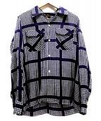 Needles(ニードルス)の古着「カットオフオープンカラーシャツ」|パープル×ホワイト