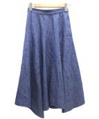 BLAMINK(ブラミンク)の古着「リネンコットンデニムフレアスカート」|インディゴ