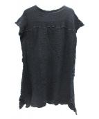 me ISSEY MIYAKE(ミーイッセイミヤケ)の古着「シワ加工ブラウスワンピース」|ブラック