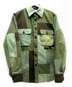 H.R.MARKET(ハリウッドランチマーケッド)の古着「パッチワークリメイクジャケット」|オリーブ
