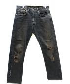 LEVIS VINTAGE CLOTHING(リーバイス ヴィンテージ クロージング)の古着「1961モデル551Zセルビッチデニムパンツ」|ブラック