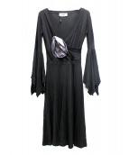 Yves Saint Laurent(イブサンローラン)の古着「[OLD]デザインワンピース」|ブラック
