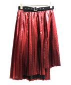 noir kei ninomiya(ノワール ケイ ニノミヤ)の古着「メタリックプリーツスカート」|レッド