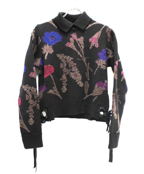 noir kei ninomiya(ノワール ケイ ニノミヤ)noir kei ninomiya (ノワール ケイ ニノミヤ) ニットポロシャツ ブラック サイズ:Sの古着・服飾アイテム