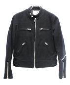 noir kei ninomiya(ノワール ケイ ニノミヤ)の古着「メルトンシングルライダースジャケット」|ブラック