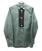 MARNI(マルニ)の古着「ニット切替ロングスリーブシャツ」|グリーン