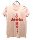GIVENCHY(ジバンシィ)の古着「クロススカルプリントTシャツ」|ピンク