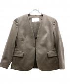 BALLSEY(ボールジィ)の古着「リネンポリエステルノーカラージャケット」|カーキ