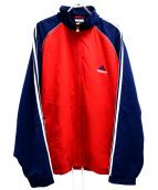 adidas(アディダス)の古着「[古着]90sパフォーマンスロゴ刺繍ジャケット」 レッド×ネイビー