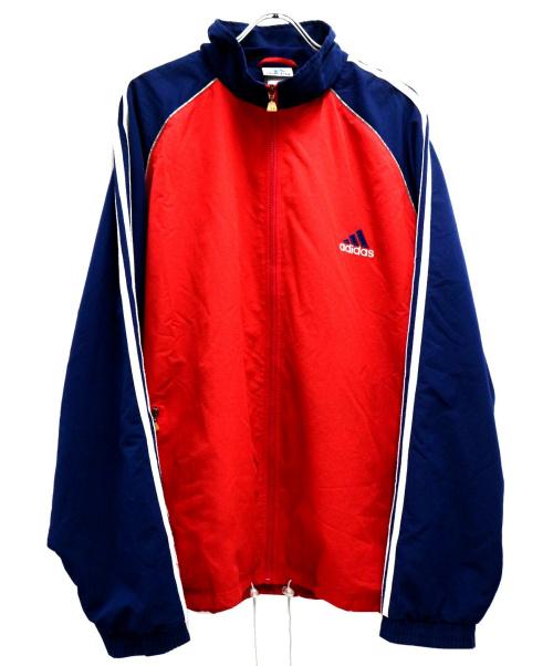 adidas(アディダス)adidas (アディダス) [古着]90sパフォーマンスロゴ刺繍ジャケット レッド×ネイビー サイズ:XLの古着・服飾アイテム