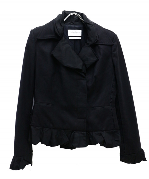 Yves Saint Laurent(イブサンローラン)Yves Saint Laurent (イブサンローラン) [OLD]フリルジャケット ブラック サイズ:40の古着・服飾アイテム