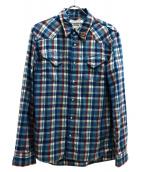 REMI RELIEF(レミレリーフ)の古着「スタッズチェックシャツ」|ブルー