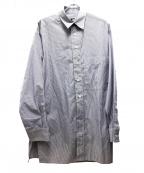 Hed Mayner(ヘド メイナー)の古着「サイドスリットボタンストライプロングシャツ」|ブルー×ホワイト