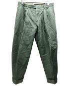 PT01(ピーティーゼロウーノ)の古着「リネン混2タックパンツ」|黄緑