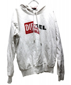 DIESEL(ディーゼル)の古着「ロゴプリントプルオーバーパーカー」|ホワイト