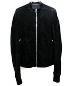 RICK OWENS(リックオウエンス)の古着「スウェードシングルライダースジャケット」|ブラック