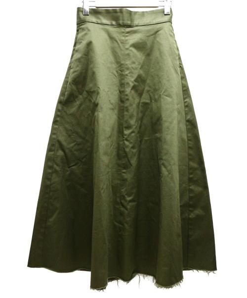 upper hights(アッパーハイツ)upper hights (アッパーハイツ) ハイウエストチノAラインスカート グリーン サイズ:25inchの古着・服飾アイテム